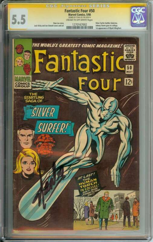 FANTASTIC FOUR #50 CGC 5.5 CR/OW PAGES