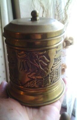 Vintage  antique oriental design - Brass tea caddy