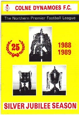 COLNE DYNAMOES  V  WHITLEY BAY 26/10/1988 northern premier league PROGRAMME