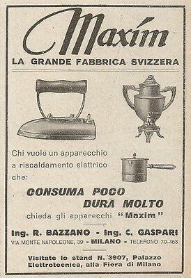 Z2328 MAXIM - Apparecchi a riscaldamento elettrico - Pubblicità 1928 - Advert