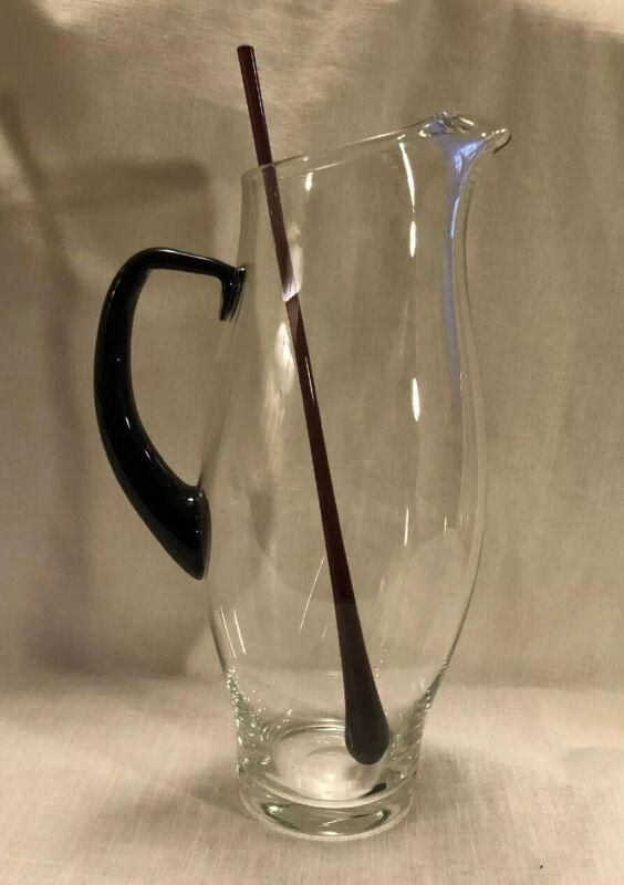 VTG BEAUTIFUL Hand Blown Glass Pitcher, Penguin Shaped w/ Purple Handle & Stick!