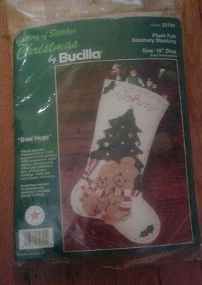 Bucilla BEAR HUGS Bears Felt Christmas Personalized Stitchery Stocking Kit 32791