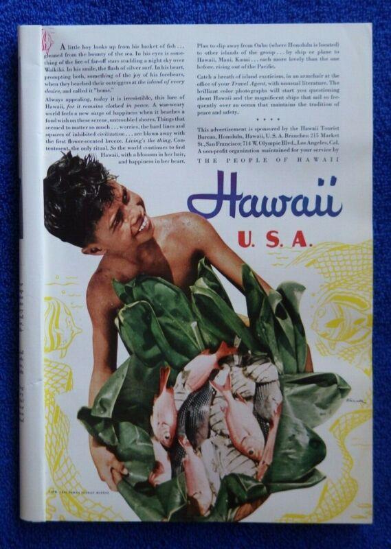 Vintage 1940 Hawaii Tourist Bureau Travel Hawaiian Advertisement Matson Line