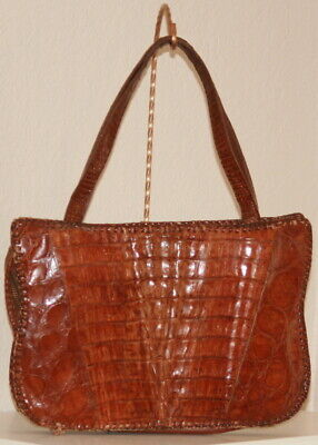 1940s Handbags and Purses History 1940's WWII Purse Brown Alligator Crocodile Satchel Estate of Bob & Monica Doerr $48.79 AT vintagedancer.com