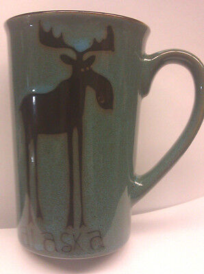 Alaska Coffee Mug Leggy Moose artwork beautiful turquoise coloring - cool mug