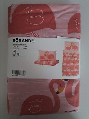 IKEA RÖRANDE Bettwäsche 2 tlg. Babybettwäsche Flamingo / rosa 110x125 / 35x55