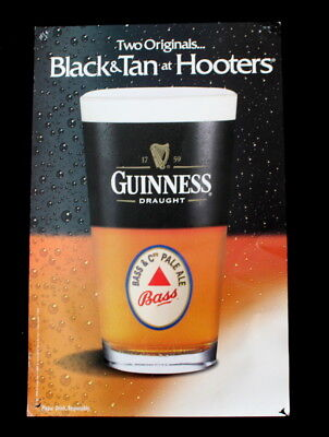 Vtg 2001 Guinness Draught Beer Black & Tan Hooters Promo Poster Man Cave Decor