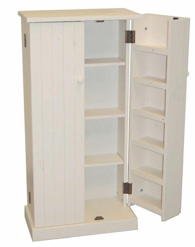 White Wooden Kitchen Pantry Cabinet Storage Organizer Food Cupboard Shelves Door