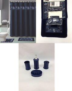 22pc bath accessories ceramic set beverly navy blue bathroom rugs shower curtain ebay. Black Bedroom Furniture Sets. Home Design Ideas