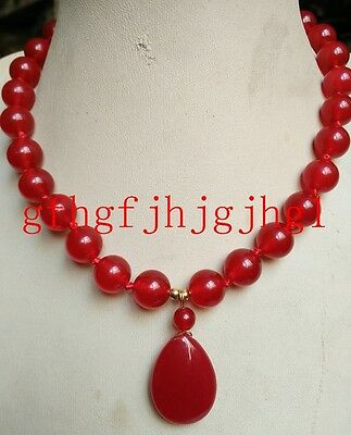 10mm Natural Red jade Round Beads &(Red jade Pendant 18x25mm) Necklace22''  10mm Red Jade Necklace