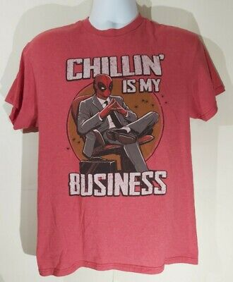 Comic Tshirt Men's Vintage Deadpool CHILLIN' IS MY BUSINESS Color Red Size M