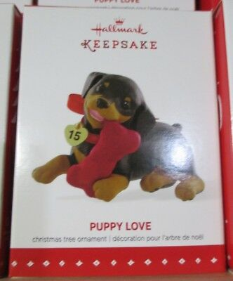 (2015 Hallmark PUPPY LOVE Keepsake Ornament 25th in series ROTTWEILER )