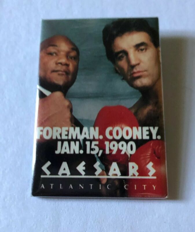 Foreman Cooney Jan 15, 1990 Caesars Casino Atlantic City Button Pinback