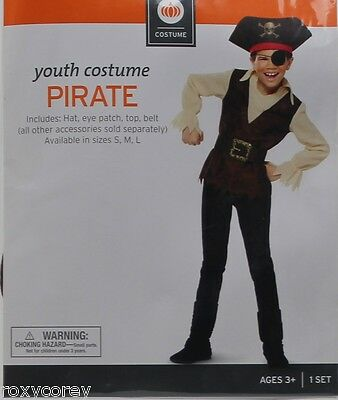 Halloween Youth Pirate Costume Hat Eye Patch Top Belt Size Small 4-6 NWT (Top Boy Halloween Costumes)