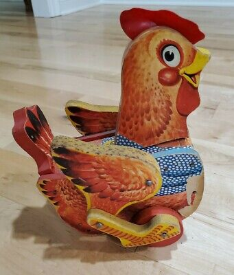 FISHER PRICE VINTAGE KATY KACKLER THE RED HEN #140 WOODEN PULL TOY