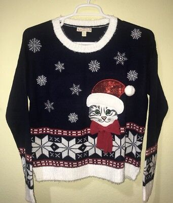 Used, It's Our Time Ugly Christmas Cat Kitty Sweater Sequin Pompom Embroidered Sz L for sale  Shipping to Canada