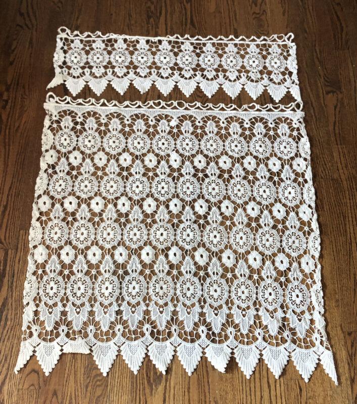 White Macrame Lace Window Curtain Valance Set