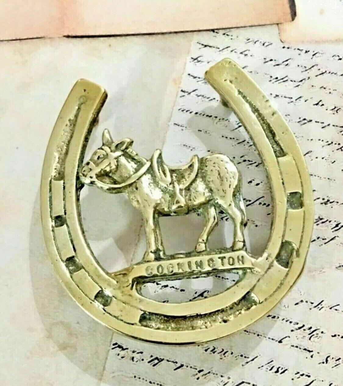 Vintage Brass Horseshoe & Donkey Trivet Pot Stand