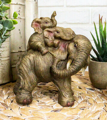 """Small Wildlife Elephant Father And 2 Calves On Piggyback Playing Statue 5.25""""H"""