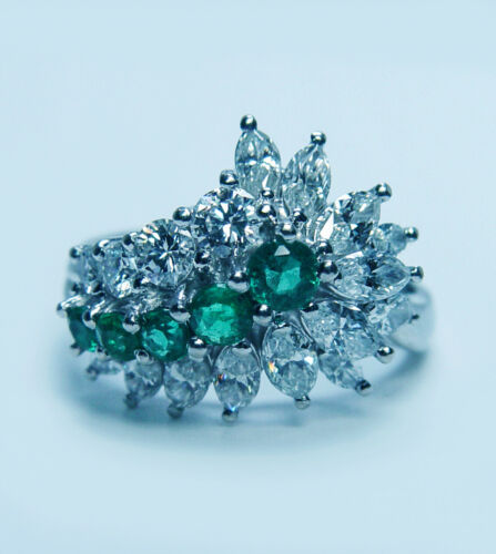 Vintage Colombian Emerald Marquise Diamond Cocktail Ring Platinum Estate