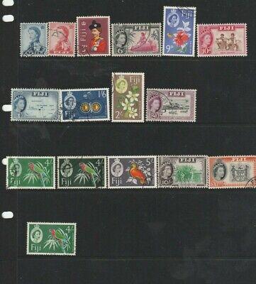 STAMPS FIJI 1962-7    QEII DEFINITIVE SET OF 15  PLUS 4/- WMK CHANGE FINE USED