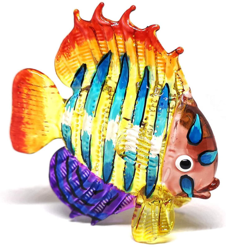 ZOOCRAFT Tropical Glass Sea Fish Figurine Hand Blown Art Sealife Collectible Min