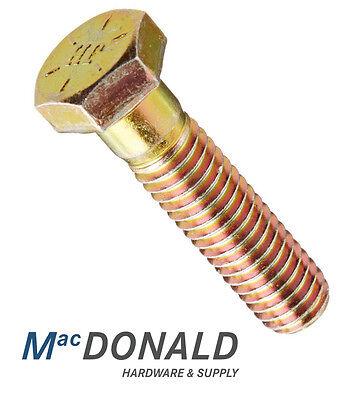 Grade 8 Hex Head Cap Screw Bolts Steel Yellow Zinc Coarse Thread Various Sizes