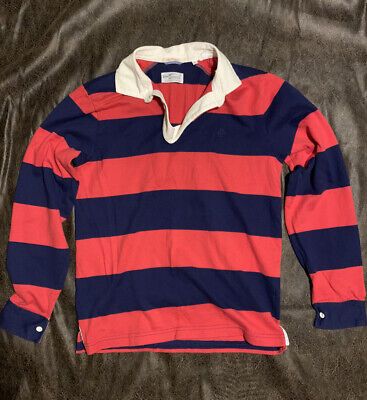 Mens Gant Rugger Rugby Blue/Red Striped Long Sleeve Polo - Small