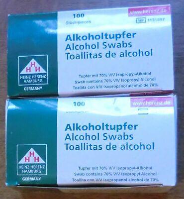 Heinz Herenz - Alkohol Tupfer 60x30mm - 2 Packungen je 100 Stück NEU! ✿ڿڰۣ✿