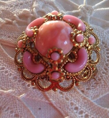 Alte Barock Brosche Filigran Rosa Perlenbesatz Vintage Modeschmuck Gold Farben