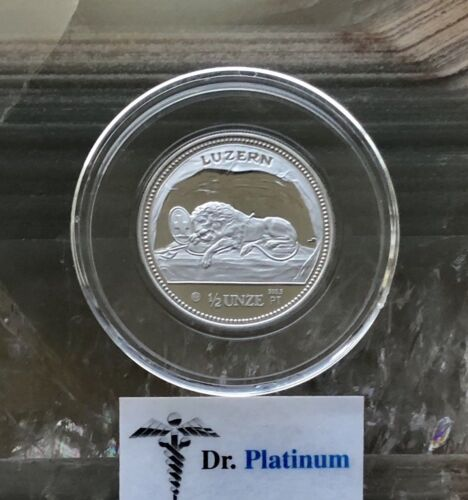1988 Lion of Luzerne, Switzerland, PROOF, 1/2 oz 9995 Platinum Coin