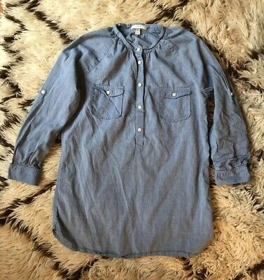 J. Crew Women's Size XS Chambray Tunic Blouse Blue Button Down Roll Tab Sleeve