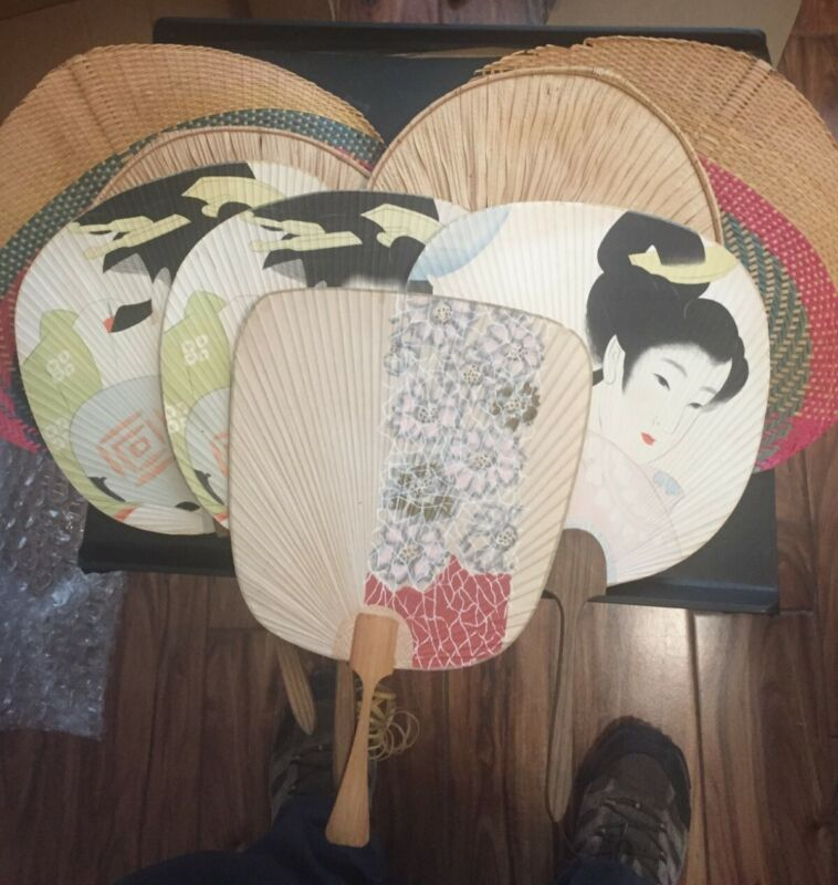 LOT OF 9 VINTAGE JAPANESE HAND FANS