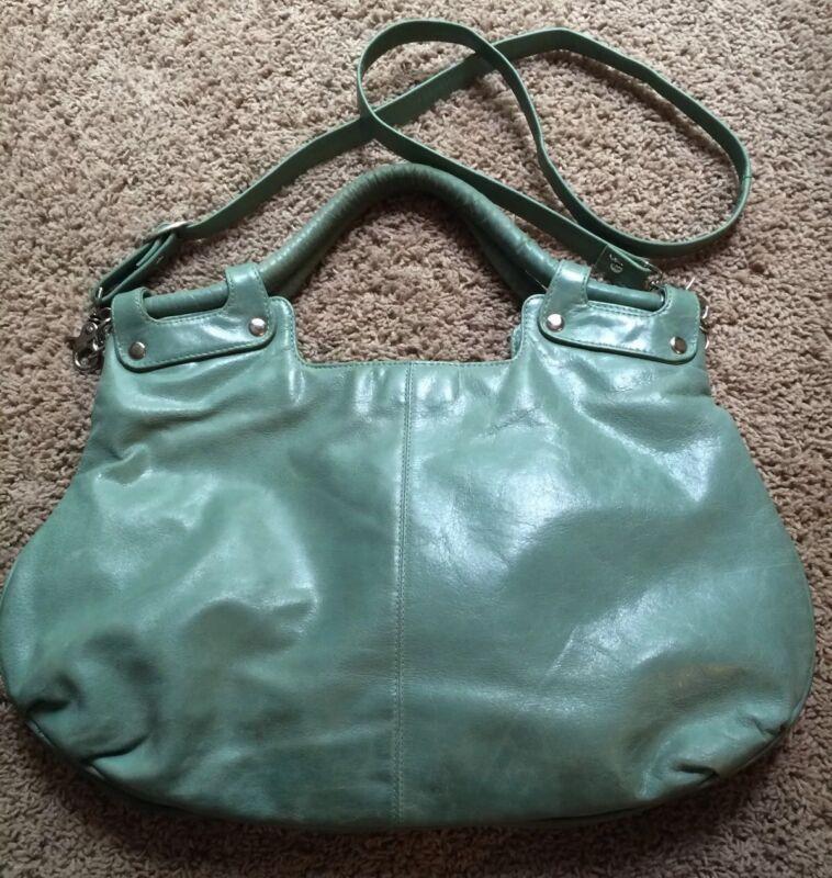 Women's LATICO Large Blue Green Leather Shoulder Bag Purse