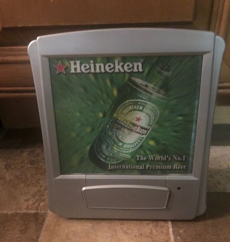(L@@K) Heineken Beer Back Bar Motion Moving Bottle Can Advertising Sign Man Cave
