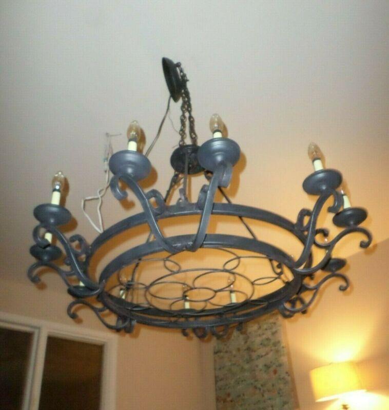 Large Gothic-Vintage Style-Spanish Mediterranean Chandelier -Black Wrought Iron