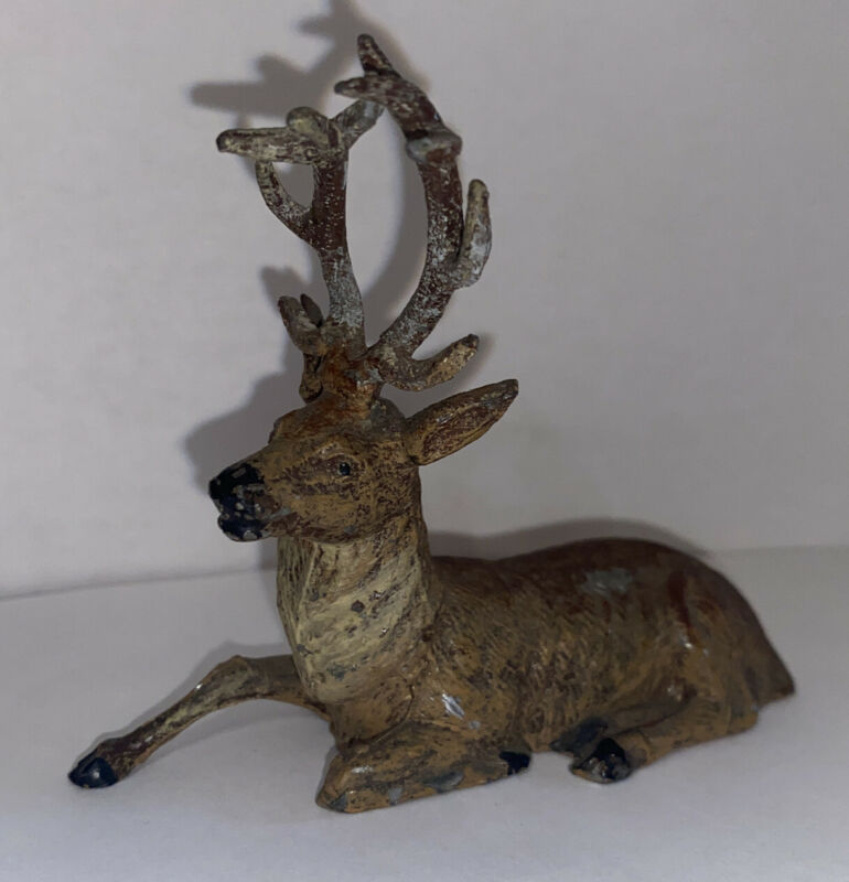 Vintage Metal Lead PUTZ Reindeer Christmas Germany DEER