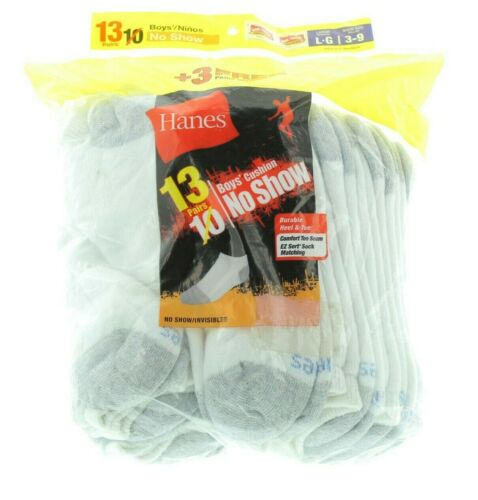 26 Pairs Hanes Boys Cushion Durable Heel & Toe No Show Socks,White Large 3-9