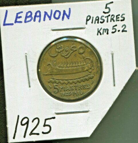 LEBANON - BEAUTIFUL HISTORICAL ALUMINUM-BRONZE 5 PIASTRES, 1925 (a), KM# 5.2