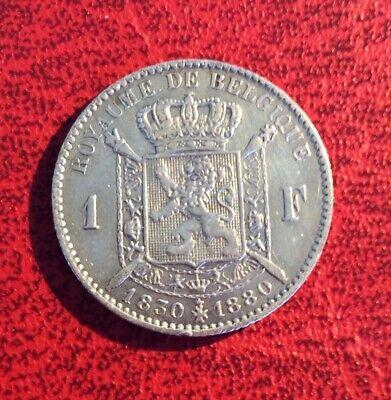 Belgique - Léopold II - Très Jolie  1 Franc  1880   - Cinquantenaire  (2)