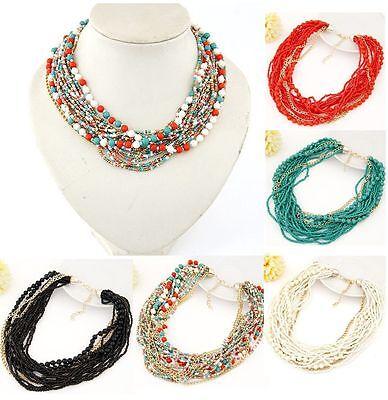 Women Fashion Retro Boho Bead Chain Statement Chunky Choker Bib Necklace Jewelry ()