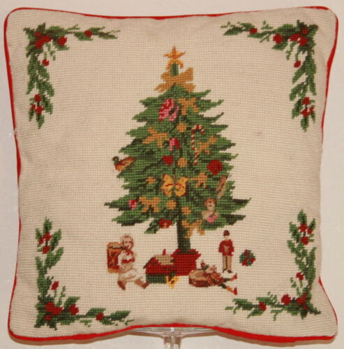 """Hand Stitched Needlepoint Christmas Holiday Pillow 13.5"""" Square Steinwinder Ent"""