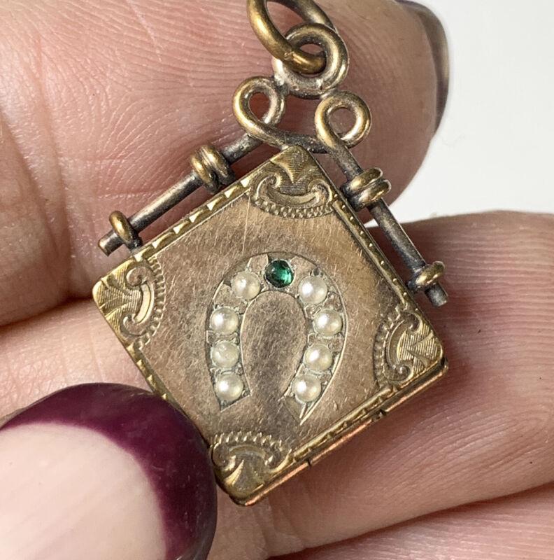 Antique Pocket watch fob locket. Equestrian motif, horseshoe. Gold Fill Jewelry