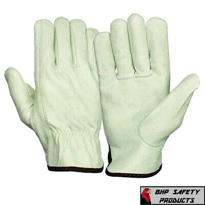 12 Pair Pack Cowhide Grain Leather Drivers Work Safety Gloves Ppe All Sizes