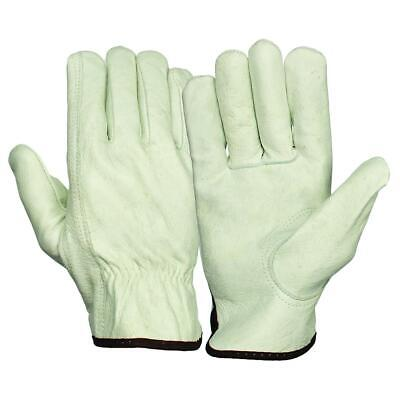 12 Pair Pack Cowhide Grain Leather Drivers Work Safety Gloves Ppe Size L