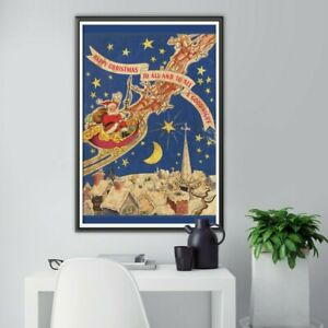 """Night Before Christmas 1947 Vintage Book POSTER! (24"""" x 36"""" or smaller) - Santa"""
