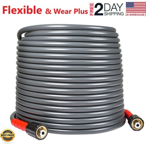 "YAMATIC ⭐3200 PSI Pressure Washer Hose 1/4"" X 50 FT M22-14mm Kink Resistant⭐"