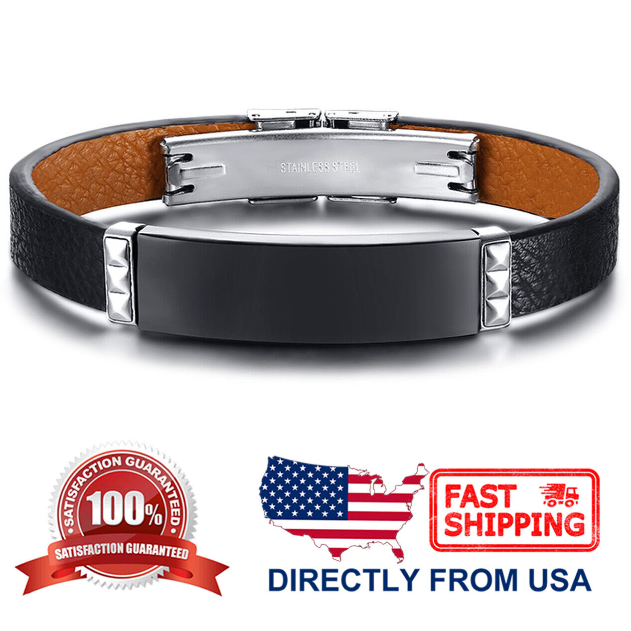 Men's Stainless Steel and Braided Black Genuine Leather ID Bracelet Bracelets