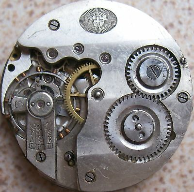 Helvetia vintage Pocket Watch movement & dial 41 mm. in diameter balance broken
