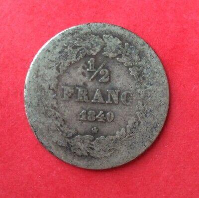 Belgique - Léopod Ier - Rare monnaie de 1/2 Franc 1840